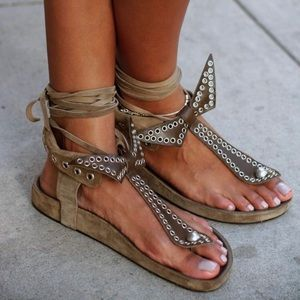 Isabel Marant Edris Studded Suede Butterfly Sandal